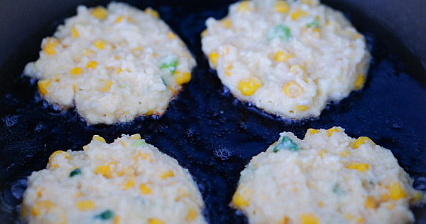 cheesy yam and corn fritters